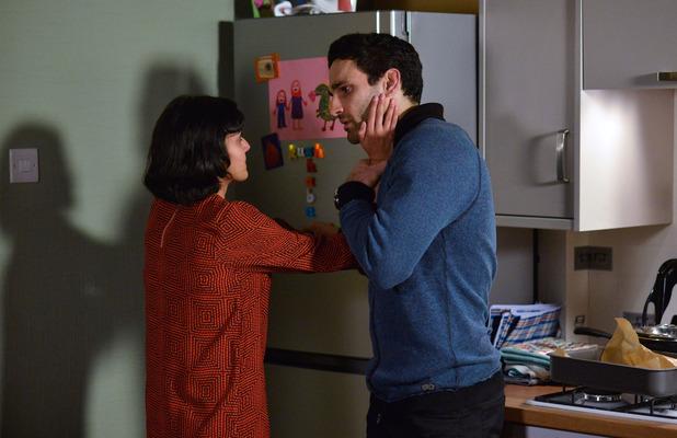 EastEnders' Shabnam Masood (Rakhee Thakrar) and Kush Kazemi (Rakhee Thakrar) have a difficult conversation, 5 February 2016.