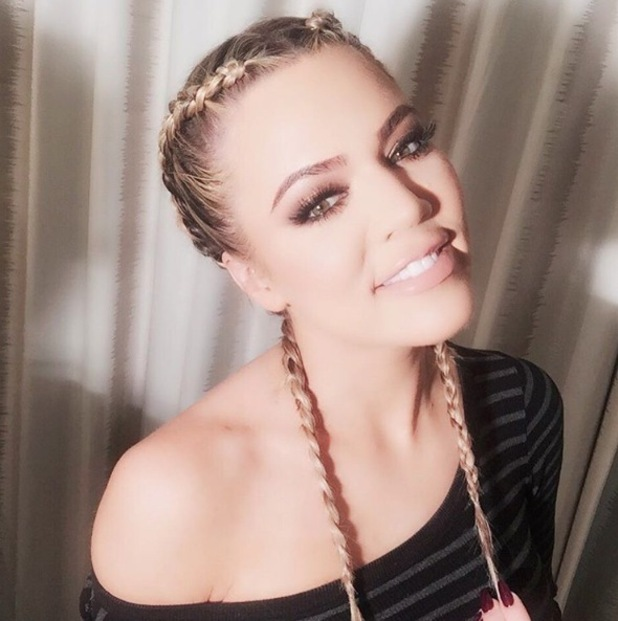 Keeping Up With The Kardashians star Khloe Kardashian takes to Instaram to debut her new braided hairstyle, 1st February 216