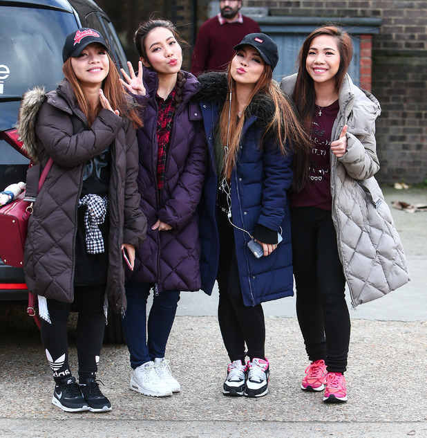 The 4th Impact girls (Celina, Mylene, Irene, Almira Cercado) arrive for X Factor tour rehearsals in London, 1st February 2016