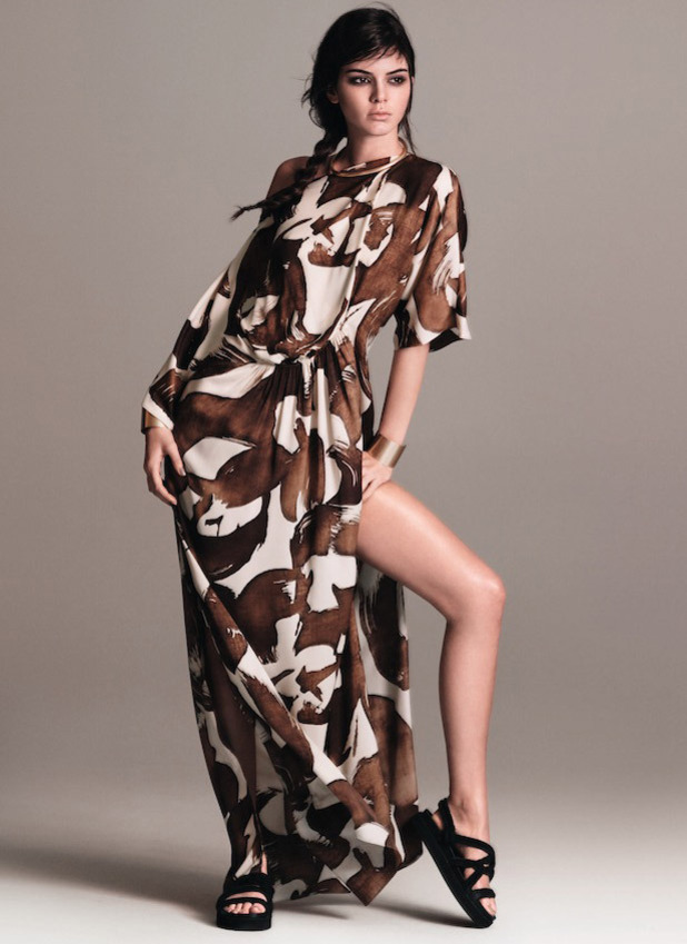 Kendall Jenner announced as the new face of MANGO, wearing tribal print dress, 1st February 2016