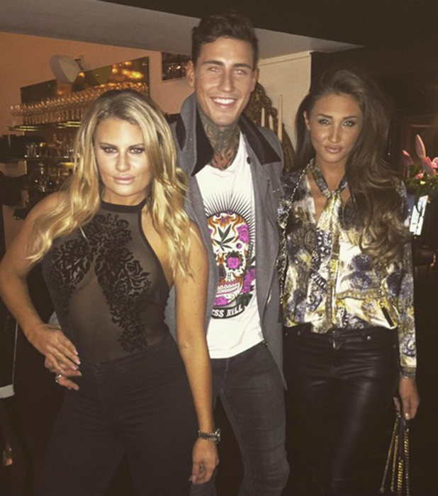 CBB's Megan McKenna and Jeremy McConnell catch up with TOWIE's Danielle Armstrong at Sheesh Chigwell, Essex 1 February 2016