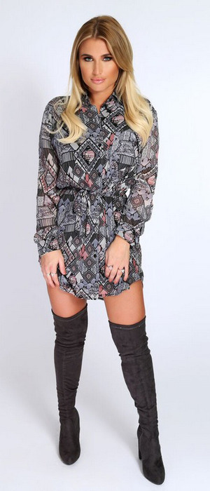 TOWIE star Billie Faiers launches spring collection with In The Style, aztec print playsuit £33.99, 9th February 2016