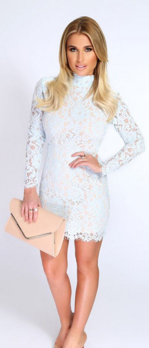 TOWIE star Billie Faiers launches spring collection with In The Style, powder blue lace dress £37.99, 9th February 2016
