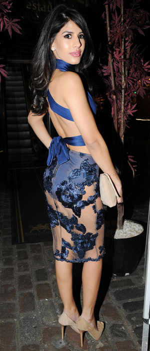 Jasmin Walia arrives at Lady Nadia Essex's Valentine's Day Party held at Gilgamesh, 11th February 2016