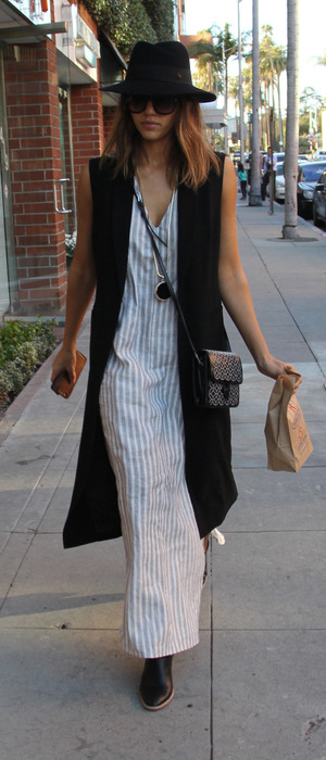 Jessica Alba wearing clog shoes and striped dress out and about in Los Angeles, 9th February 2016