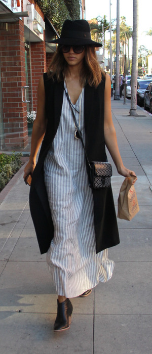 Step Up actress Jessica Alba wearing clog shoes and striped dress out and about in Los Angeles, 9th February 2016