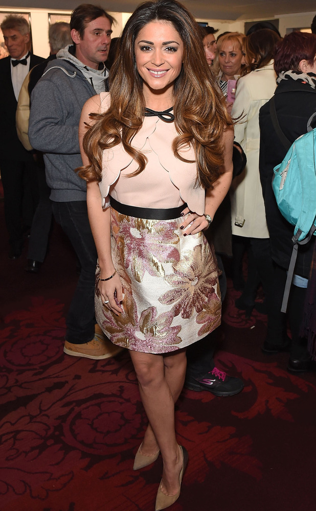 Casey Batchelor attends the Cirque Beserk! launch party in London wearing metallic skirt, 10th February 2016