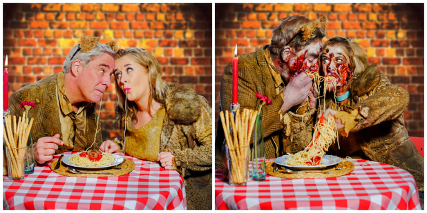 Steph and Dom off Gogglebox put a zombie twist on romantic film scenes ahead of The Walking Dead premiere,