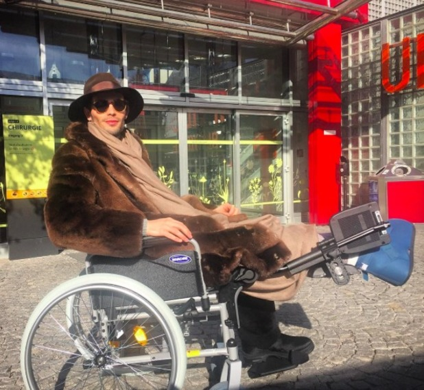 Mark-Francis Vandelli in wheelchair after The Jump injury, 12 February 2016.