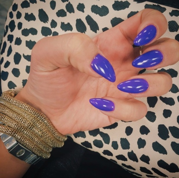 TOWIE star Ferne McCann takes to Instagram to show off her violet nails, 7th February 2016