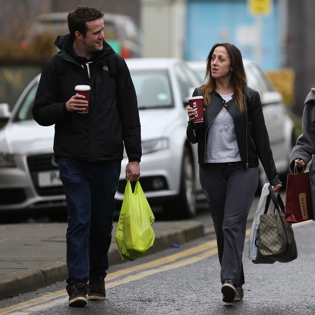 Natalie Cassidy and her boyfriend Marc Humphreys arrive at BBC Elstree, Feb 2015