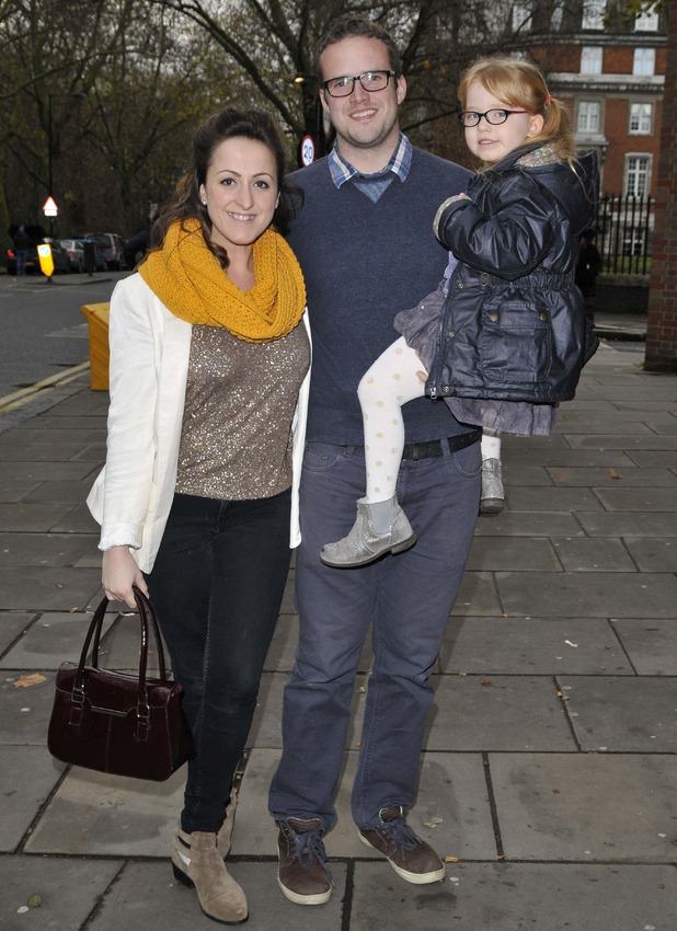 Natalie Cassidy, boyfriend Marc Humphreys and daughter Eliza attend Edward Scissorhands Gala at Sadler's Wells, London - 07 Dec 2014.