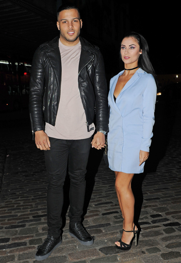 Love Island's Cally Jane Beech and Luis Morrison arrive at Lady Nadia Essex's Valentine's Day Party held at Gilgamesh, 11th February 2016