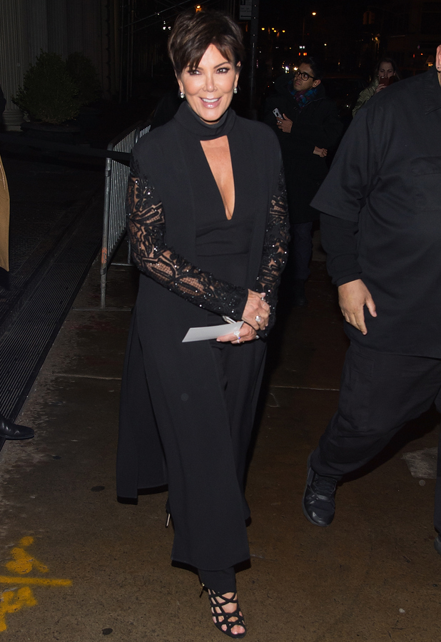 Kris Jenner dressed in head-to-toe black at Kendall + Kylie launch party New York, 9th February 2016