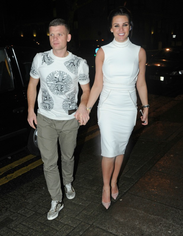 Danielle Lloyd and her new boyfriend Michael O'Neil are seen leaving Tamarin restaurant in London together after attending the Dakota Johnson Premiere of How to be single.