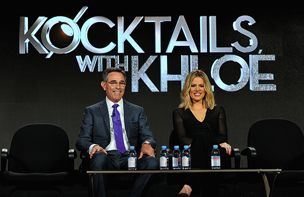 Executive producers Craig Piligian (L) and Khloe Kardashian (R) speaks onstage during the FYI - Kocktails with Khloe panel at the A+E Networks 2016 Television Critics Association Press Tour at The Langham Huntington Hotel and Spa on January 6, 2016 in Pasadena, California. (Photo by Jerod Harris/Getty Images for A+E Networks)