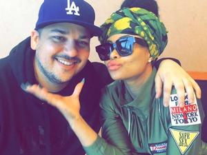 Rob Kardashian beams in new photo with girlfriend Blac Chyna. 18 February 2016.