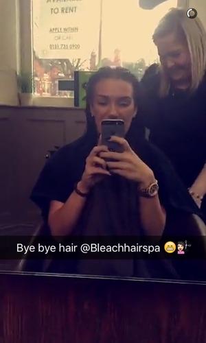 Imogen Townley before having her hair cut shorter 19 February