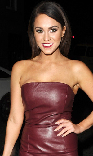 Vicky Pattison wears leatherette dress on night out in London, 19th February 2016