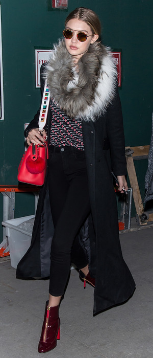 Gigi Hadid dressed for the Diane Von Furstenberg show at New York Fashion Week, London, 15th February 2016