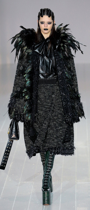 Kendall Jenner dressed in gothic black attire on Marc Jacobs catwalk, New York Fashion Week, 19th February 2016