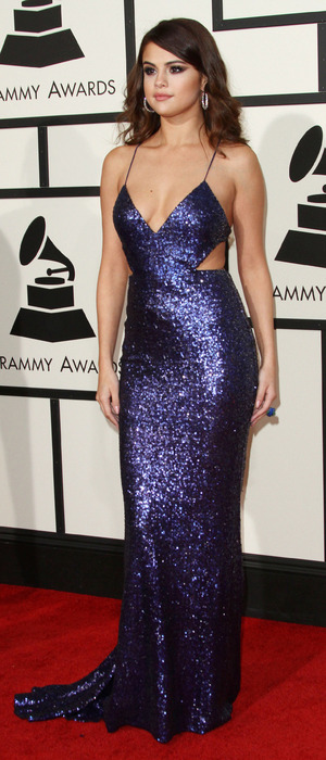 Selena Gomez wears blue sequin gown on the red carpet at the Grammy Awards in Los Angeles, 16th February 2016