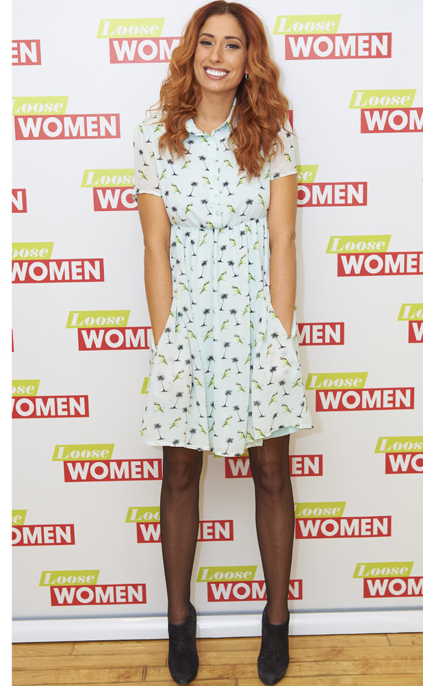 Stacey Solomon wears dress from her own Oli for Look Again collection on Loose Women, London, 18th February 2016