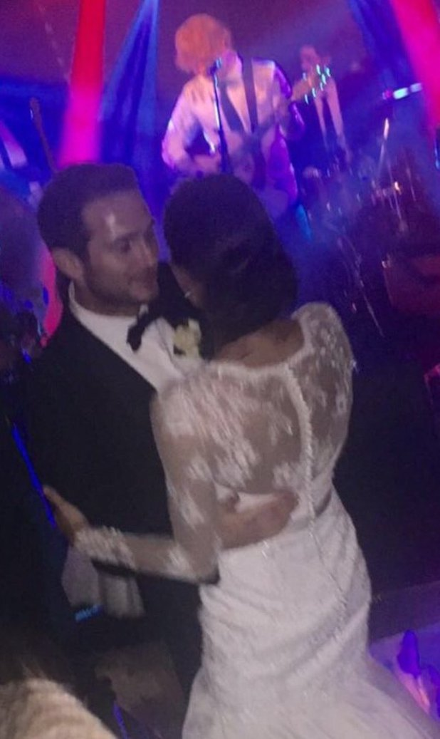 Christine Lampard (nee Bleakley) shares photo of her first dance with husband Frank Lampard where they were serenaded by Ed Sheeran. 16 February 2016.