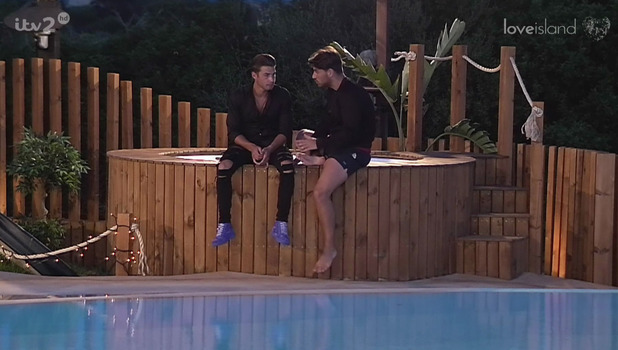 Jonathan Clark gives Joshua Ritchie advice on 'Love Island'. 07/07/2015.