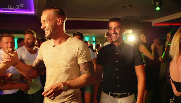Calum Best arrives at the villa to take the boys for a night out in Magaluf on 'Love Island', broadcast on ITV2 HD - 30 June 2015.