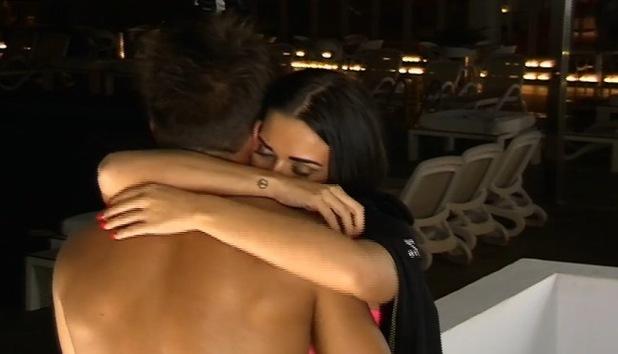 Imogen Townley and Deano Baily hug, Ibiza Weekender 14 February