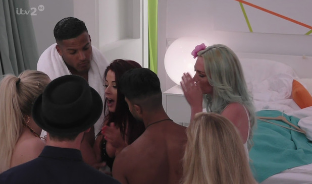 Jess Hayes has a heated argument with new arrival Bethany Rogers on 'Love Island', broadcast on ITV2 HD. 22 June 2015.