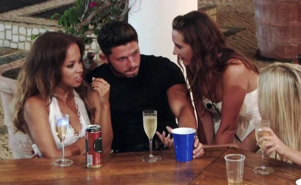 Ex on the Beach: Gina throws a drink over Kieran when she sees him with Olivia 16 Feb 2016