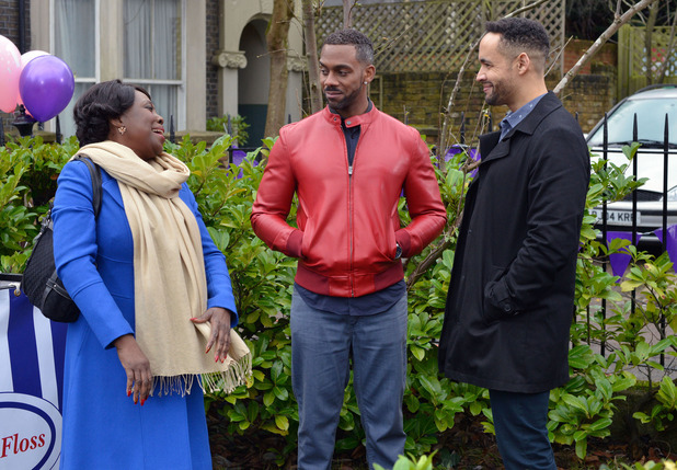 EastEnders - Linford arrives in the Square - seen with Claudette and Vincent. Transmission date: 23 February 2016.