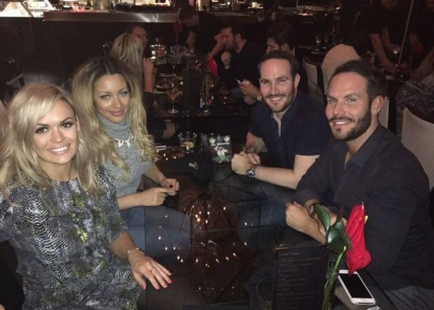 Take Me Out's Beckie and Adam, as well as Ella and Adam's twin Simon. February 2016.