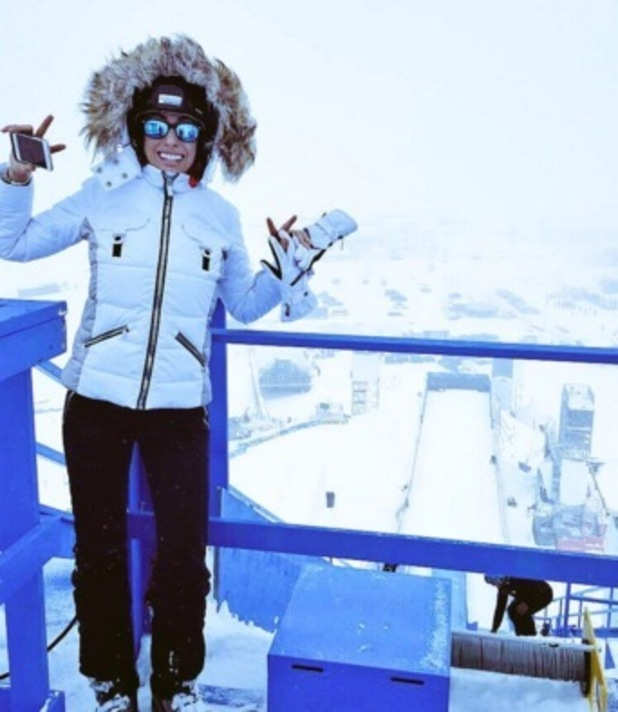 Stacey Solomon returns to Austria to visit The Jump 16 February
