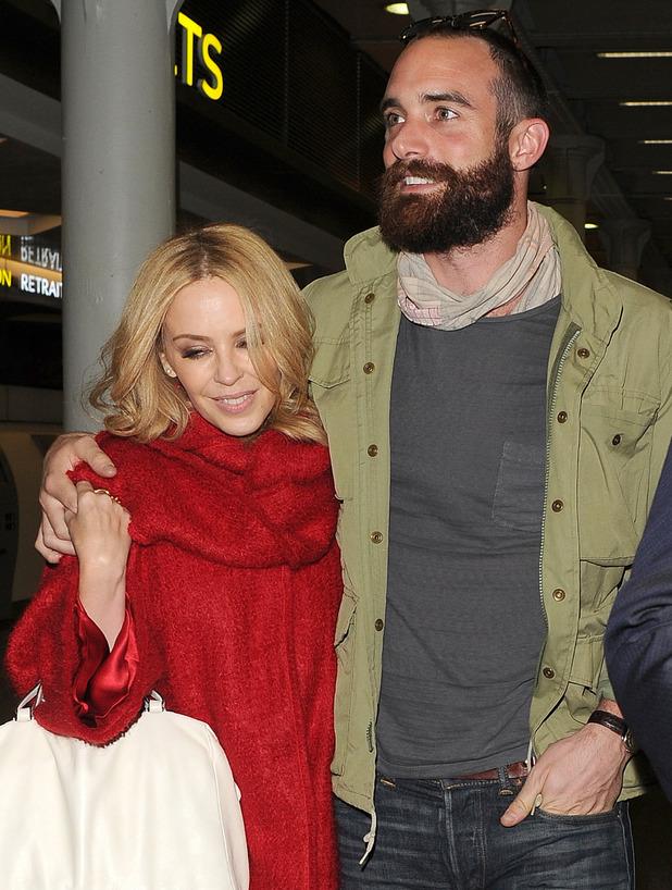 Kylie Minogue and her boyfriend Joshua Sasse in London, December 2015.