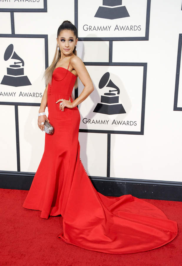 Ariana Grande on the red carpet at the Grammy Awards in Los Angeles, 16th February 2016