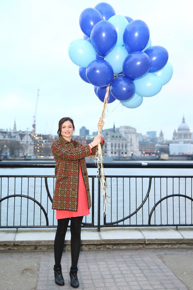 Sophie Ellis-Bextor dazzled Londoners by hundreds of balloons released into the skies along the Southbank to mark the launch of UKTV's new entertainment channel W, February 2016