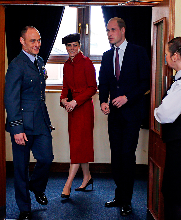 Catherine, Duchess of Cambridge and Prince William, Duke of Cambrige attend a reception following the ceremony marking the end of RAF Search and Rescue (SAR) Force operations during a visit to RAF Valley on February 18, 2016 in Anglesey, Wales. (Photo by Peter Byrne - WPA Pool/Getty Images)