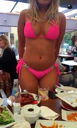 Chloe Sims dares Danielle Armstrong to show off her bikini in restaurant Gran Canaria, 18 February 2016