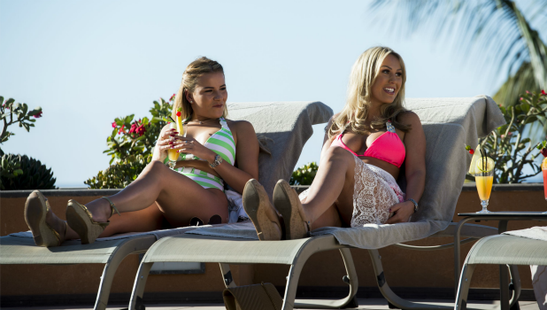 The Only Way is Essex' cast filming, Gran Canaria, Spain - 16 Feb 2016 Georgia Kousoulou and Kate Wright.