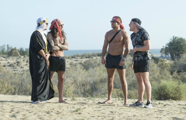 'The Only Way is Essex' cast filming, Gran Canaria, Spain - 16 Feb 2016 Liam Blackwell, Tommy Mallett, James Lock and Peter Wicks.