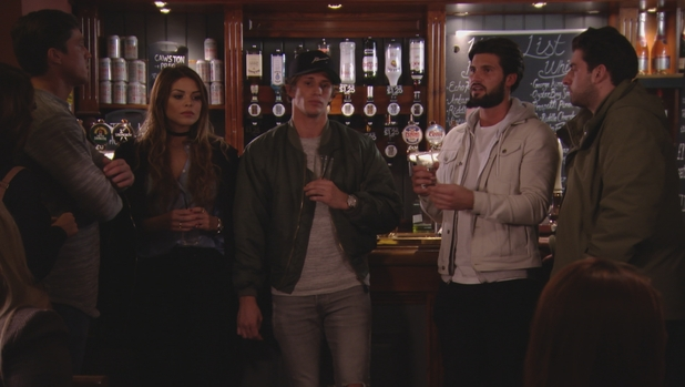 The Only Way Is Essex: Lewis Bloor approaches Jake, Dan and co. Series 17, episode 1. 28 February 2016.