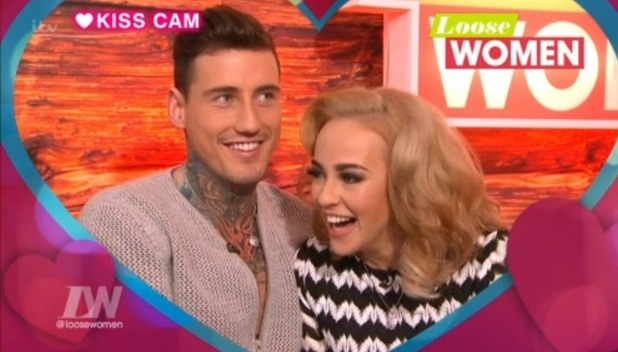 Stephanie Davis and Jeremy McConnell at the ITV studios waiting for their first joint TV interview on Loose Women. 26 February 2016.