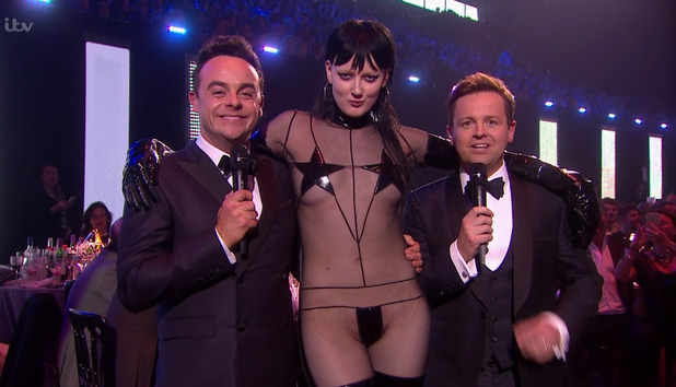 Ant & Dec are unexpectedly joined by Sadie Pinn as they present the 'BRIT Awards 2016'. 24 February 2016.