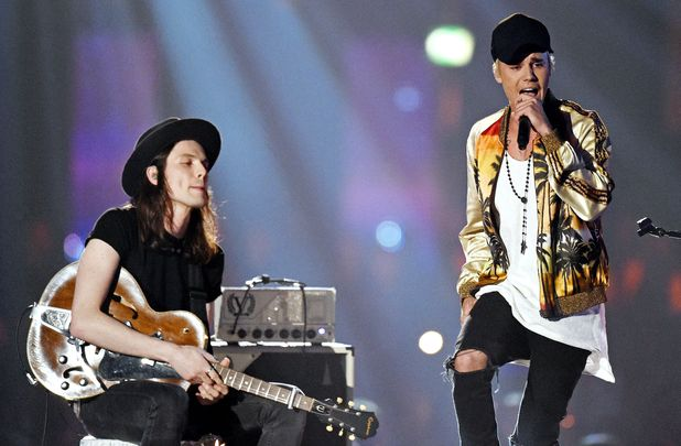 The Brit Awards, Show, O2 Arena, London, Britain - 24 Feb 2016 James Bay and Justin Bieber