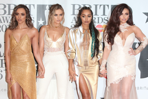 Little Mix's Leigh-Anne Pinnock, Jade Thirlwall, Perrie Edwards, Jesy Nelson attend the BRIT Awards in London, 25th February 2016