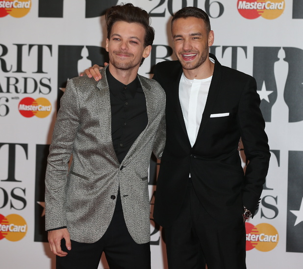 Liam Payne and Louis Tomlinson at Brits 2016 - London - 24 Feb 2016
