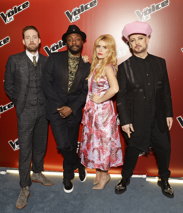 Ricky Wilson, will.i.am, Paloma Faith and Boy George attend The Voice Launch, which airs on BBC One on Saturday, January 9th at 7:30 pm, at The Mondrian Hotel on December 21, 2015 in London, England.